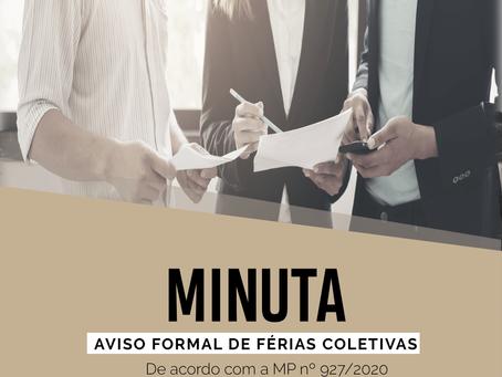 Modelo – Aviso formal de férias coletivas (MP nº 927/2020)