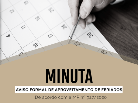 Modelo – Comunicado Formal de Aproveitamento de Feriados (MP nº 927/2020)