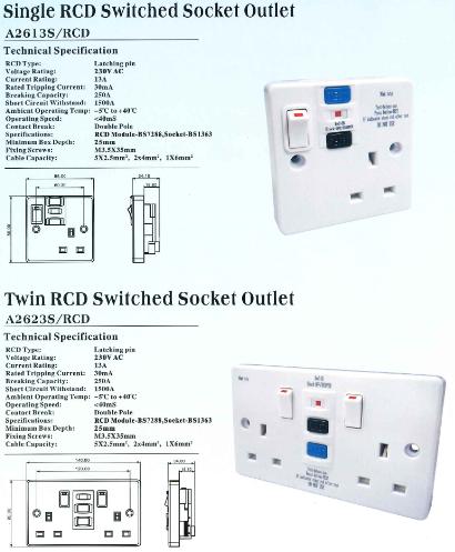 豐葉開關蘇底 FYP RCD Switched Socket Outlet