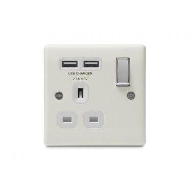 BG 13A單位有掣不銹鋼插座+2xUSB(2.1A)  BG 1 gang steel Socket, Switched + 2 USB (2.1A)