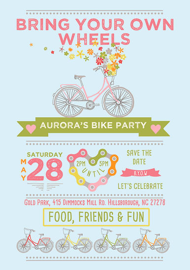 Colorful bicycle party invitation design