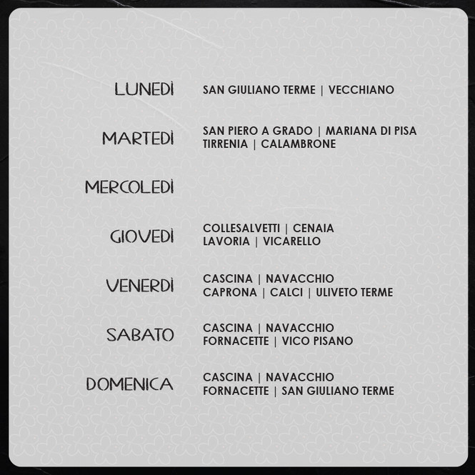 CALENDARIO DI CONSEGNE