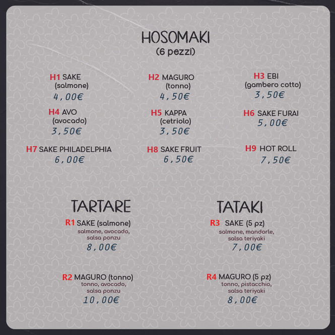 HOSOMAKI-TARTARE-CARPACCIO