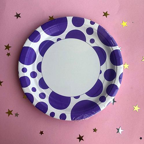 Тарелки фиолет круги, 8 шт