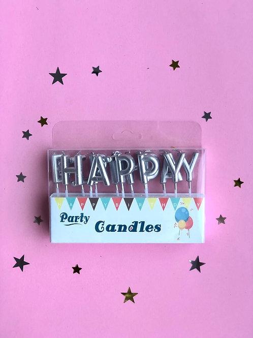 Свечи в торт Happy Birthday серебро