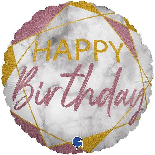 Круг Happy Birthday розовый мрамор с гелием