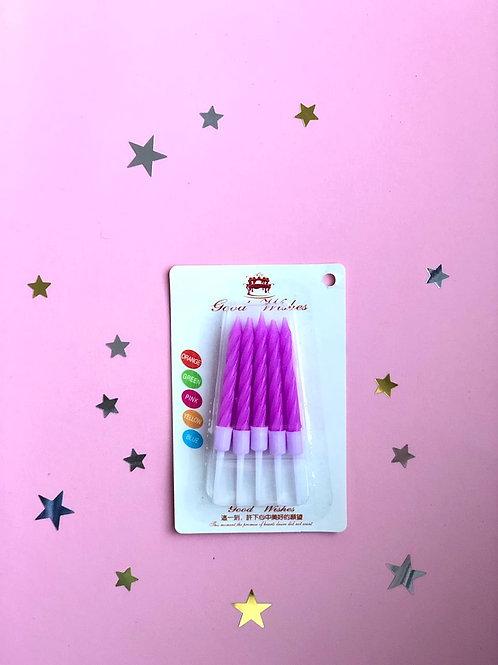 Свечи в торт фиолетовые Неон, 10 шт