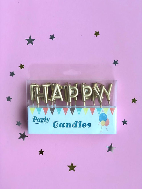 Свечи в торт Happy Birthday золото