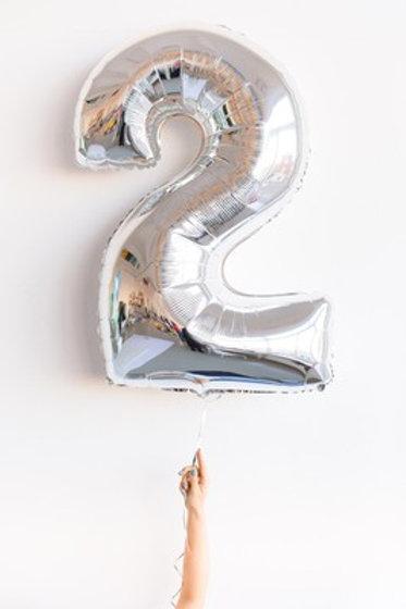 Шар фольга 2 серебро, 102 см