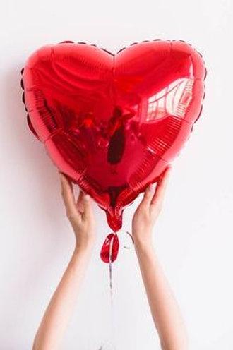 Шар сердце красный, 45 см