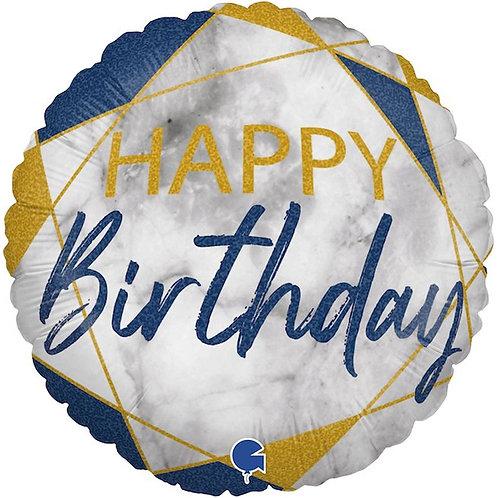 Круг Happy Birthday синий мрамор с гелием
