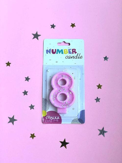 Свеча Цифра 8 розовая звезды
