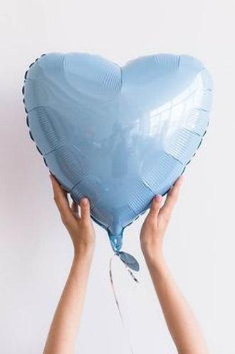 Шар Сердце голубое, 45 см