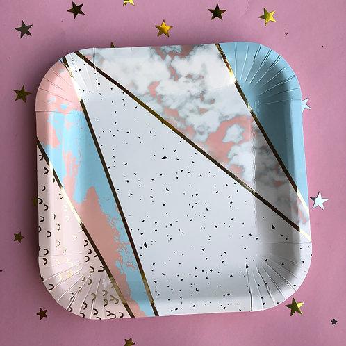 Тарелки мрамор розовый, 8 шт