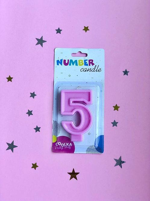 Свеча Цифра 5 матовая розовая