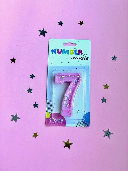 Свеча Цифра 7 розовая звезды
