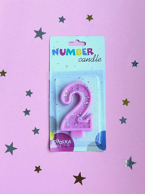 Свеча Цифра 2 розовая звезды