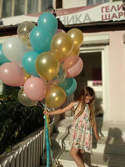 """Набор 25 шариков """"Разноцветные шары+конфетти"""""""