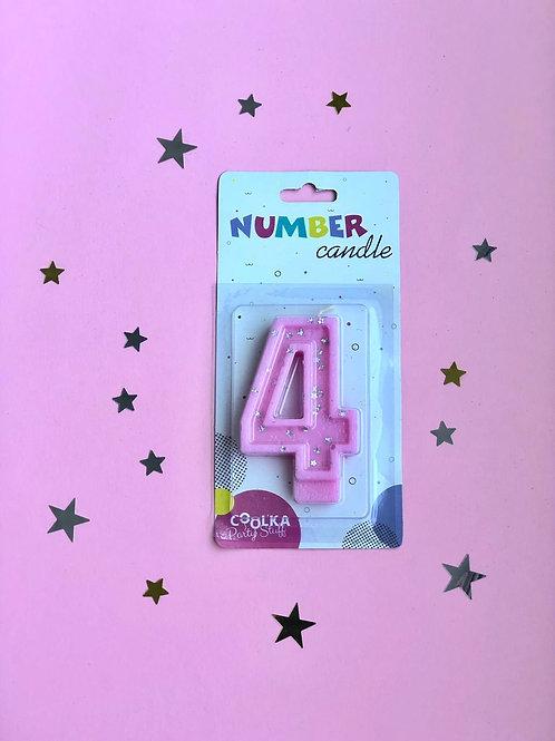 Свеча Цифра 4 розовая звезды