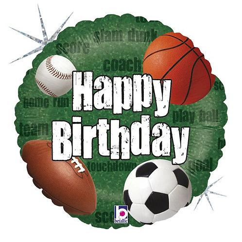 Круг Happy Birthday спорт с гелием