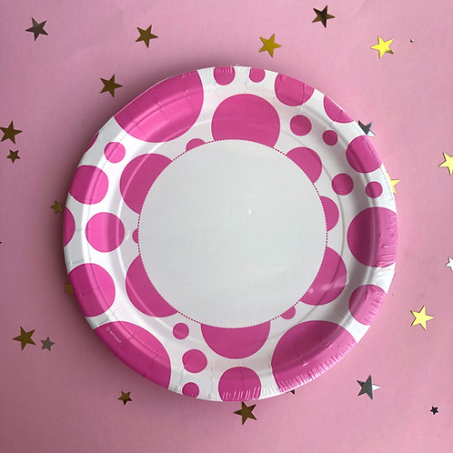 Тарелки розовые круг, 8 шт уп