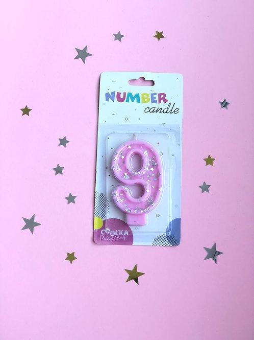Свеча цифра 9 розовая звезды