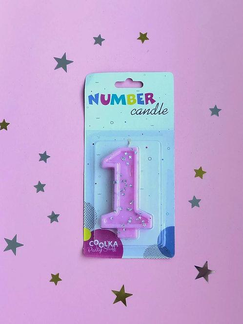 Свеча Цифра 1 розовая звезды