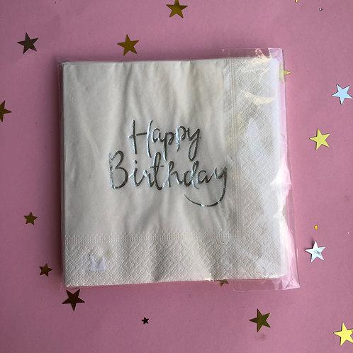 Салфетки Happy Birthday серебро, 20 шт