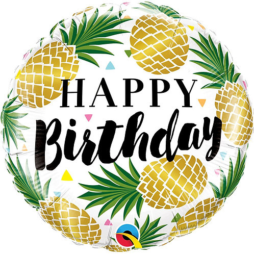 Круг Happy Birthday ананасы с гелием