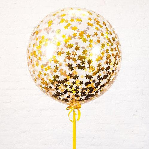 Гигант 90 см с конфетти золотые звезды