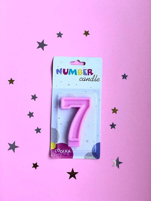 Свеча Цифра 7 матовая розовая