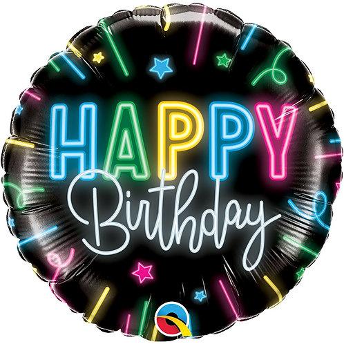 Круг Happy Birthday неон с гелием