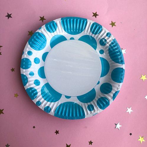 Тарелки голубые круг, 8 шт