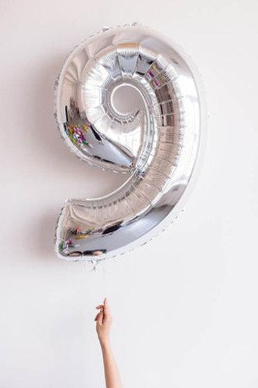 Шар фольга 9 серебро, 102 см