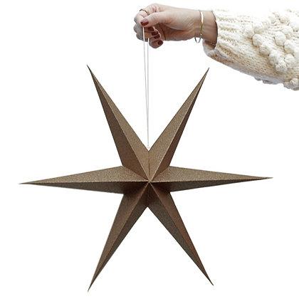 Brown sparkle paper star set of 2