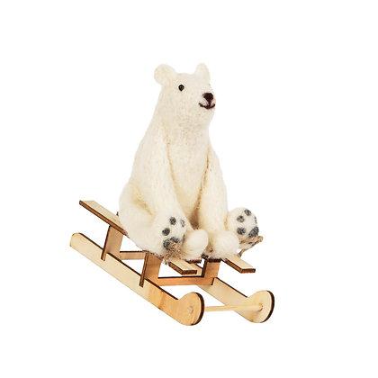 Woolly sledging Polar Bear