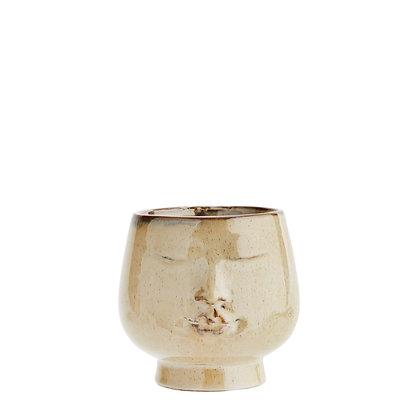 Glazed Ceramic Face Plant Pot