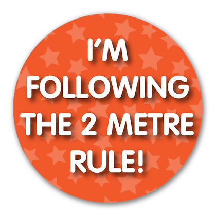 40mm Dia Reward Sticker 'Following the 2 Metre Rule'