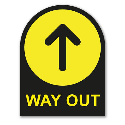 'WAY OUT' Round Topped Sign