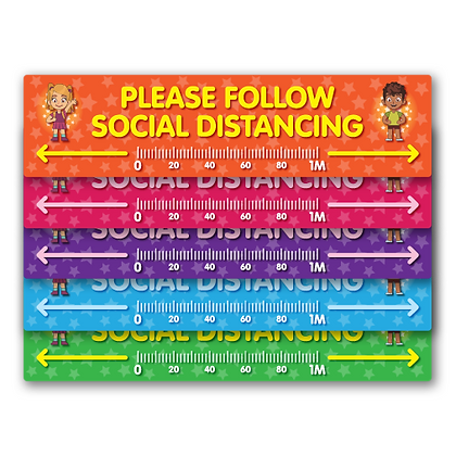 'Follow Social Distancing' Floor Ruler 2270mm x 570mm