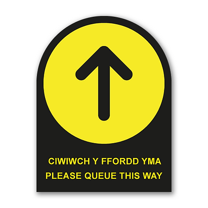 Bilingual 'Queue This Way' Round Topped Sign