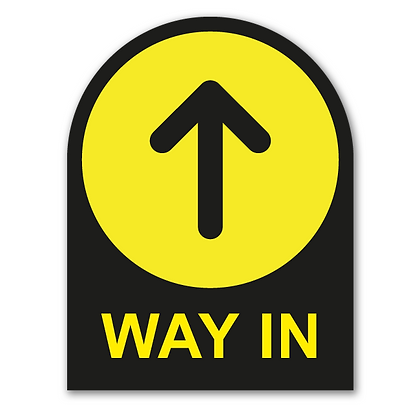 'WAY IN' Round Topped Sign