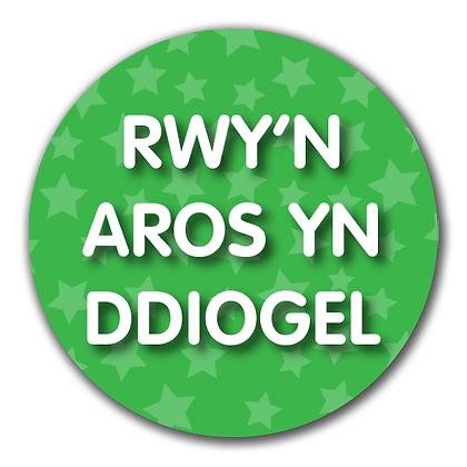 40mm Dia Welsh Reward Sticker 'Staying Safe'