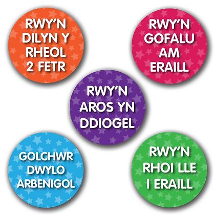 40mm Welsh Reward Stickers All Designs