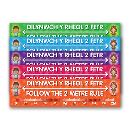 Bilingual 'Follow The 2 Metre Rule' Floor Ruler 2270mm x 570mm