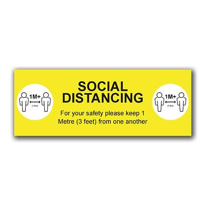 'SOCIAL DISTANCING 1M+' 800x300mm