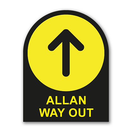 Bilingual 'WAY OUT' Round Topped Sign