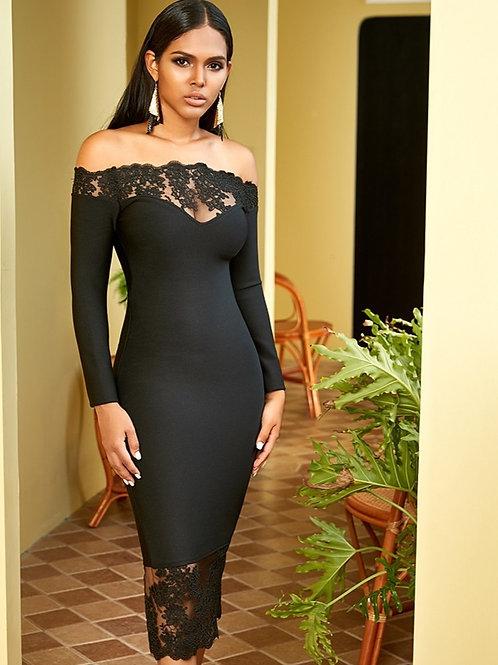 Black Elegant Off Shoulder Lace Dress