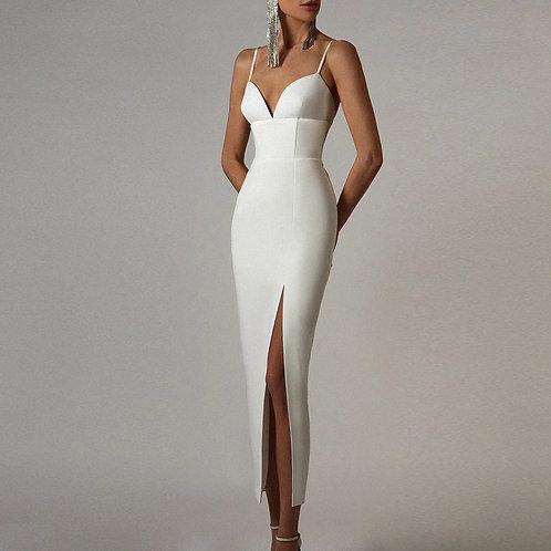 White classy long Dress Sexy