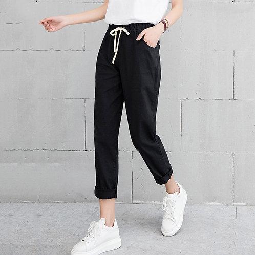 Casual elastic katoenen broek